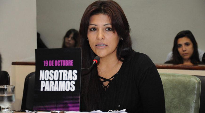 """La concejal Lili Aguirre solicitando un cuarto intermedio en la sesión legislativa de 13 a 14hs para acompañar la iniciativa """"Paro de Mujeres"""""""