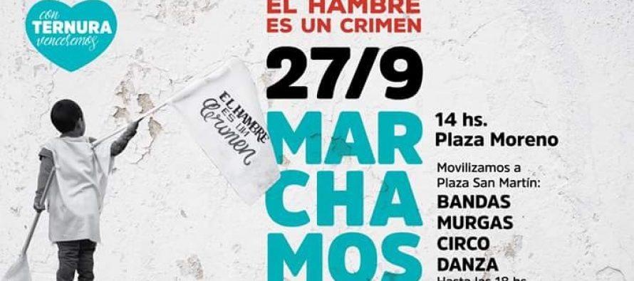 """[La Plata] 27/9 Marcha: """"El Hambre Es Un Crimen""""."""