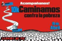 19/4 Diez kilómetros contra la pobreza,  marchan Barrios de Pie y otras organizaciones