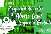 [La Plata] 19/4 Proyección de Cortos por el Aborto Legal Seguro y Gratuito