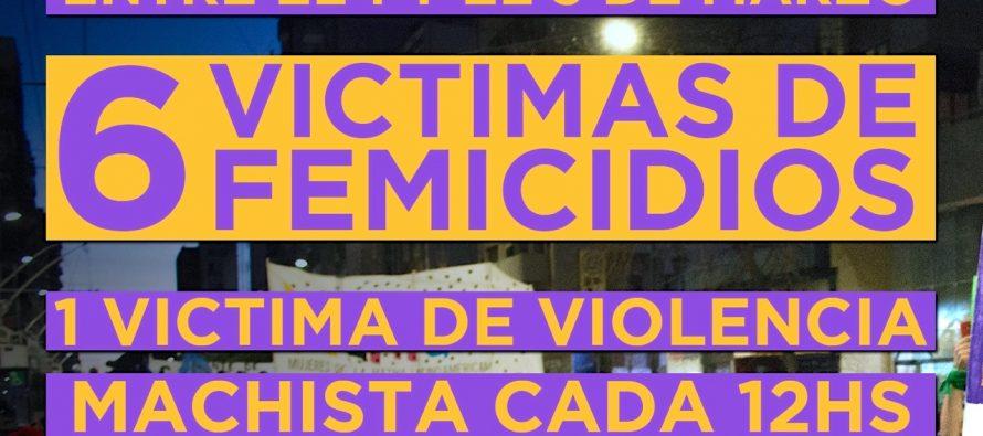 Marzo: en tres días, seis femicidios, uno cada 12 hs.