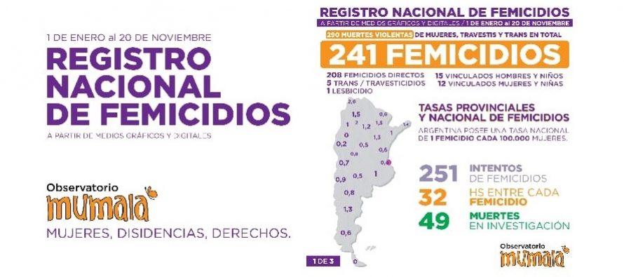 Registro nacional de femicidios al 20 noviembre 2020.