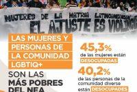 Las mujeres y personas de la comunidad LGBTIQ+ son las mas pobres del NEA.