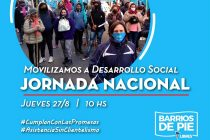 Jueves 28. Jornada nacional de movilización a Desarrollo Social.