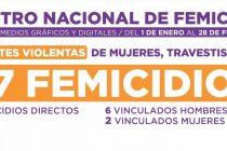 Registro Nacional de Femicidios desde el 01 de enero.