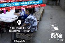 """""""La Pobreza No Puede Esperar"""". Barrios de Pie lanza mañana campaña nacional de donación de leche en polvo."""